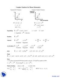 Complex Numbers for Planar Kinematics - Simulation of Mechanical Systems - Lecture Notes