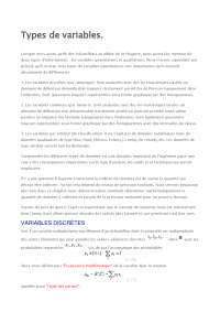 Notes sur les types de variables - 1° partie