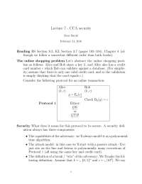 CCA Security - Introduction to Cryptography - Lecture Notes