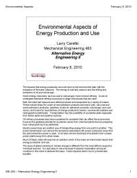 Environmental Aspects of Energy Production - Alternative Energy Engineering - Lecture Notes