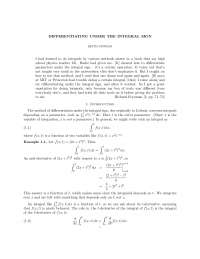 Differentiating under the Integral Sign - Keith Conrad - Notes