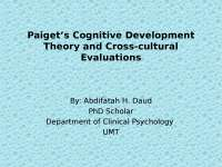 Piaget theory of cognitive developement