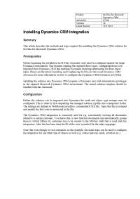 Installing dynamics crm integration