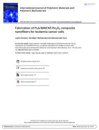 Fabrication of PLA/MWCNT/Fe3O4 composite nanofibers for leukemia cancer cells
