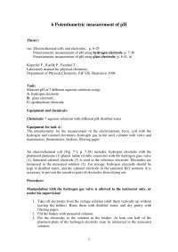 Potentiometric Measurement of pH - Chemistry - Lecture Handout