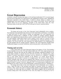 Great Depression - Causes and Recovery