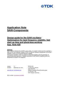 Application note of SAW