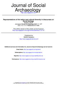 Rappresentations of the Nation and Cultural Diversity in Discourses of World Heritage