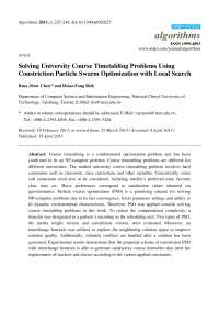 Solving University Course Timetabling Problems