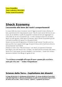 Tesina Maturità Liceo Scientifico - Shock Economy