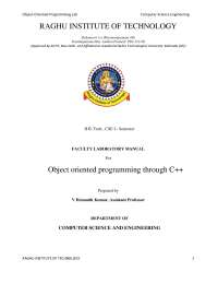 OBEJECT ORIENTED PROGRAMMING LANGUAGEC++ LAB