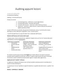 Appunti Auditing presi a lezione