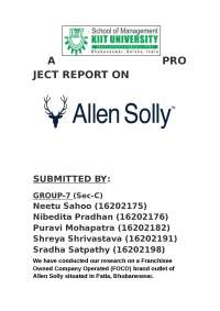 allen solly   project on franchisee