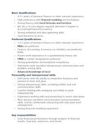 Job specification of financial analyst