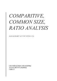Presentation of Common size, Comparative and Ratio Analysis