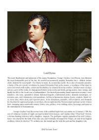 LORD BYRON AND ROMANTICISM