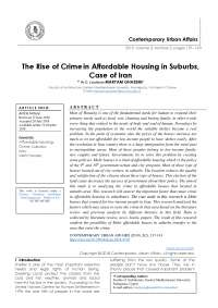 The Rise of Crime in Affordable Housing in Suburbs, Case of Iran