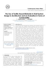 The Use of Textile-Based Materials in Shell System Design in Architecture and an Evaluation in Terms of Sustainability