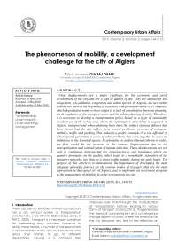 The phenomenon of mobility, a development challenge for the city of Algiers