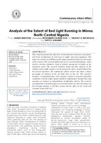 Analysis of the Extent of Red Light Running in Minna, North-Central Nigeria