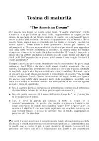 Tesina di Maturità - The American Dream
