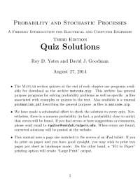Probability and Stochastic Processes 3rd Edition Quiz Solution