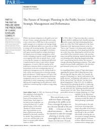 The Future of Strategic Planning in the Public Sector Linking Strategic Management and Performance